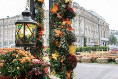 Autumn outdoor decorations at the festival. Orange pumpkin and retro forged lantern with maple leaves,flowers and hawthorn berries royalty free stock images