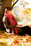 Autumn outdoor laptop Stock Photography