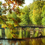 Autumn in outdoor park with wooden bridge on lake. Sunny day in outdoor park with wooden bridge on lake and colorful autumn trees reflection under blue sky Stock Photo