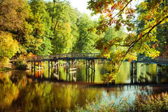 Autumn in outdoor park with wooden bridge on lake. Sunny day in outdoor park with wooden bridge on lake and colorful autumn trees reflection under blue sky Stock Photography