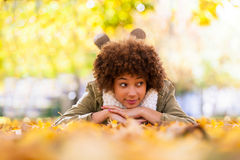 Autumn outdoor portrait of beautiful African American young woma Stock Images