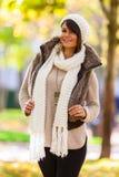 Autumn outdoor portrait of beautiful young woman - Caucasian peo Stock Photos