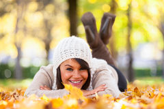 Autumn outdoor portrait of beautiful young woman - Caucasian peo Royalty Free Stock Photo