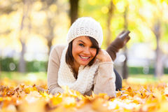 Autumn outdoor portrait of beautiful young woman - Caucasian peo Stock Image