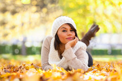 Autumn outdoor portrait of beautiful young woman - Caucasian people stock images