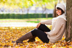 Autumn outdoor portrait of beautiful young woman - Caucasian peo Stock Photos