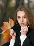 Autumn outdoor portrait of beauty young girl. Portrait of beauty young girl with arms on stand-up collar Royalty Free Stock Image