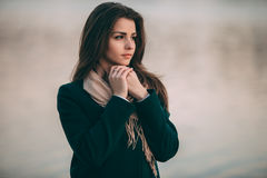 Autumn outdoor portrait of young beautiful fashionable woman Stock Photo
