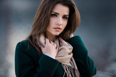 Autumn outdoor portrait of young beautiful fashionable woman Stock Images