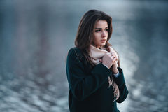 Autumn outdoor portrait of young beautiful fashionable woman Royalty Free Stock Images