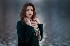 Autumn outdoor portrait of young beautiful fashionable woman Stock Photos
