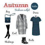 Autumn outfit. Fashionable Outfit, fashion style, Items of clothing and accessories, isolated on white background Royalty Free Stock Photo