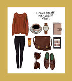 Autumn outfit  illustration set Royalty Free Stock Image