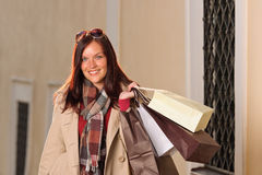 Autumn outfit shopping woman elegant with bags Stock Photo