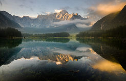 Autumn over the alpine lake, the Julian Alps Royalty Free Stock Photos