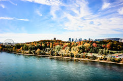 Autumn over Montreal downtown from St-Laurence river Royalty Free Stock Photo