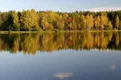 Autumn over the water. The photo shows a water reservoir. Its shores are covered with deciduous trees. It is autumn, some leaves took on a yellow and brown Royalty Free Stock Photo