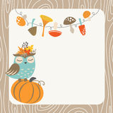 Autumn owl. Cute autumn card with owl, mushrooms, pumpkin and place for your text Stock Image