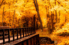 Autumn on the Paint Creek Bridge. Paint Creek Bridge in fall on Paint Creek Trail in Rochester, Michigan Stock Image