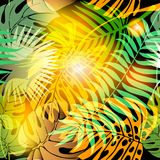 Autumn palm leaves abstract vector seamless pattern. Green yellow exotic plants background. Decorative ornamental floral design. Tropical plants ornament with royalty free illustration