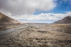 Pamir Highway overlooking Karakul Lake, Tajikistan. stock images