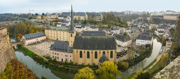 Autumn panorama of Abbey de Neumunster in Luxembourg. City Royalty Free Stock Images