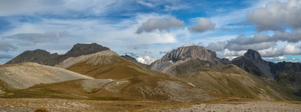 Autumn panorama highly in mountains. Caucasus mountains. Royalty Free Stock Photo