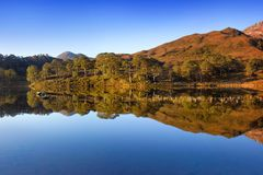 Autumn panorama of Loch Claire with the views of Beinn Eighe and Liathach from across the water. Glen Torridon, Highlands Scotland royalty free stock images
