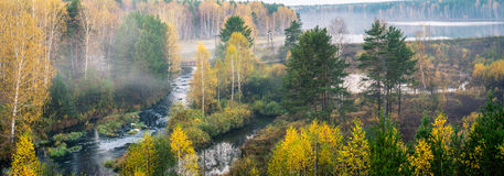 Autumn panorama of the morning forest river fog, Stock Images