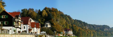 Autumn panorama in the Saxon Switzerland Royalty Free Stock Photography