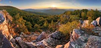 Autumn panorama with sun and forest - Slovakia Stock Photos