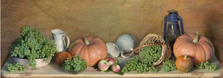 Free Autumn Panorama With Pumpkins, Apples, Harvest Of Ripe Grapes .Autumn Still-life.Thanksgiving Day Stock Photos - 131651383