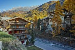 Autumn Panorama of Zermatt Resort, Canton of Valais, Switzerland. ZERMATT, SWITZERLAND - OCTOBER 27, 2015: Autumn Panorama of Zermatt Resort, Canton of Valais stock images