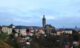 Autumn panoramic view of Kutna Hora. stock photo