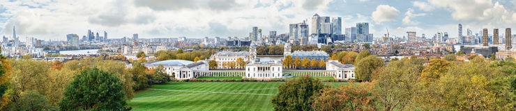 Autumn panoramic view to Greenwich and Canary Wharf in London Royalty Free Stock Image