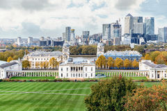 Autumn panoramic view to Greenwich and Canary Wharf in London Stock Photos