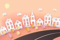 Autumn paper art background with city view. Fluffy paper clouds, road, lawn with trees and cute houses. Trendy origami paper cut royalty free illustration