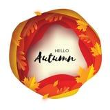 Autumn Paper Cut Leaves Ciao autunno Modello dell'aletta di filatoio di settembre Struttura della caverna stratificata cerchio Sp Fotografia Stock Libera da Diritti