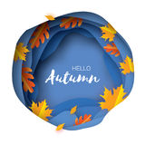 Autumn Paper Cut Leaves. Hello Autumn. September flyer template. Circle layered cave frame. Space for text. Origami Stock Photography