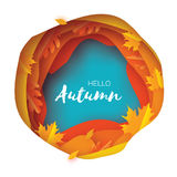 Autumn Paper Cut Leaves. Hello Autumn. September flyer template. Circle layered cave frame. Space for text. Origami. Foliage. Maple, oak. Fall poster. Blue Royalty Free Stock Photography