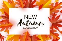Autumn Paper Cut Leaves Neue Herbstkollektion September-Fliegerschablone Rechteck überlagerter Höhlentunnelrahmen Raum für stock abbildung