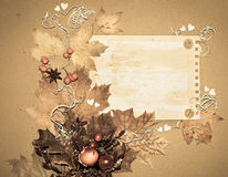 Autumn paper frame made of natural materials Royalty Free Stock Image