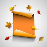 Autumn papercut illustration with abstract colorful leafs. And paper banner isolated on white background vector illustration