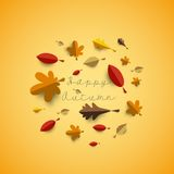 Autumn papercut illustration with abstract colorful leafs. And paper banner isolated on yellow background vector illustration