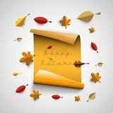 Autumn papercut illustration with abstract colorful leafs and tr. Autumn papercut illustration with abstract colorful leafs and paper banner isolated on white Royalty Free Stock Photo