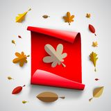 Autumn papercut illustration with abstract colorful leafs and tr. Autumn papercut illustration with abstract colorful leafs and paper banner isolated on white Stock Photo