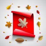 Autumn papercut illustration with abstract colorful leafs and tr. Autumn papercut illustration with abstract colorful leafs and paper banner isolated on white vector illustration