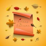 Autumn papercut illustration with abstract colorful leafs and tr. Autumn papercut illustration with abstract colorful leafs and paper banner isolated on yellow stock illustration