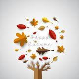 Autumn papercut illustration with abstract colorful leafs and tr. Ee isolated on white background Stock Photo