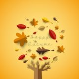 Autumn papercut illustration with abstract colorful leafs and tr. Ee isolated on yellow background Royalty Free Stock Images